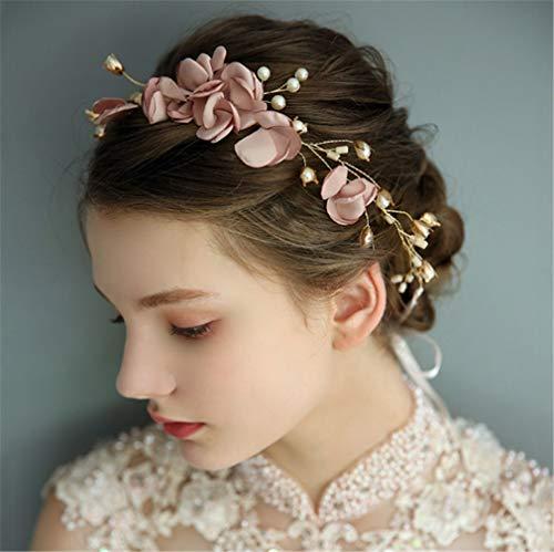 (LNYF-OV Braut Headdress ,Haarschmuck Kristall Strass Nachahmung Perle Gold Rosa Blume Torus Hochzeitstag Party-46,0 * 6,0 cm)