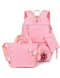 FRISTONE Conjunto de 3 Polka Dot lindo Las mochilas escolares universidad/bolsas escolares/mochila niños niñas adolescentes + bolsa de mano + bolsa de lápiz, Rosa