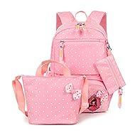 FRISTONE École Sac à dos/3pcs Enfants sac à sac à dos scolaire pour les filles+ Sac d'Épaule+Crayon sacs,Rose