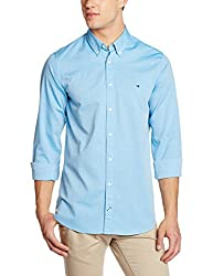 Tommy Hilfiger Mens Casual Shirt (8907504463565_P7AMW187_L_Bluejay)
