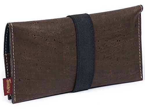 SIMARU Bolsa para Tabaco hecha de corcho / piel de corcho vegana. Robusta y duradera. Funda, estuche para tabaco de liar. Bolsillo adicional para mechero, filtros y papeles. Varios colores (marrón)