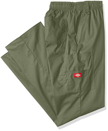 Dickies Men's Big and Tall Eds Signature Zip Fly Pull-on Scrub Pant, Olive, Medium/Tall (Scrubs Dickies Zip)