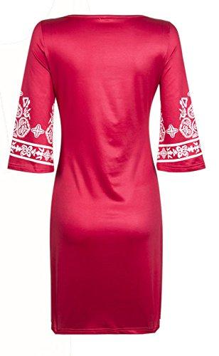 Damen Kleid Kurz Elegant U Ausschnitt 3/4 Ärmel Stretch Eng Blumendrucken Bestickt Muster A-Linie Casual Retro Abendmode Druckkleider Rot
