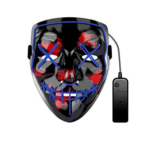 WUYEA Glühende Maske Terror Scary Blinkende Maske Für Erwachsene Maskerade Festival Cosplay Requisiten,Blue