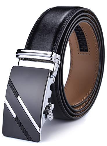 DCFlat Herren-Gürtel, verstellbare Schnalle, Ledergürtel für große und große Männer Gr. X-Large (Länge 125cm Geeignet für 37-43 taille, Black.5)
