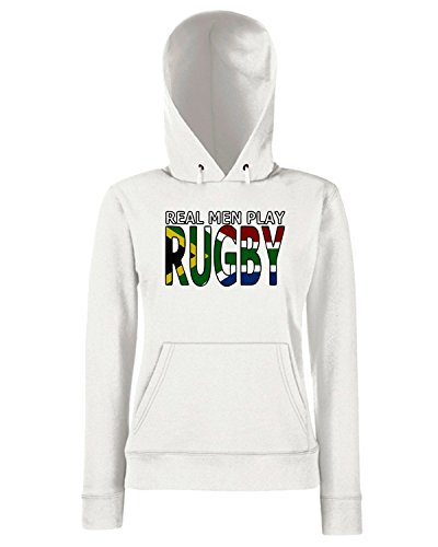 T-Shirtshock - Sweats a capuche Femme TRUG0038 real men rugby south africa fitted logo Blanc