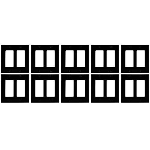 enerlites Decorator/GFCI Rocker-, Standard Größe, unzerbrechlich Polycarbonat 2 Gang Blank Plate