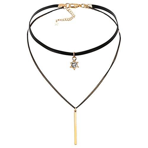 Epinki Damen Choker, Doppel Halskette Schlangenhaut Muster Leder Rechteckige Streifen Stern Krone Form Anhänger Rock Hoker Gothic Halsband Halsschmuck Schwarz Gold 33CM mit Zirkonia (Mädchen Pudel Rock)