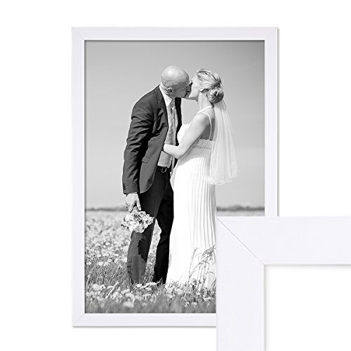 fotorahmen 30x45 PHOTOLINI Bilderrahmen 30x45 cm Weiss Modern aus MDF mit Glasscheibe und Zubehör/Fotorahmen