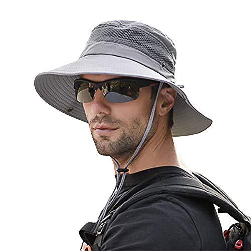 SIYWINA Sonnenhut Herren UV Schutz Safari Hut Sommer Outdoor Fischerhut Buschhüte mit Kinnband