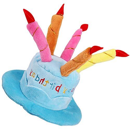 (Yooger Haustier-Geburtstagshut, süßer Hund Geburtstag Hut mit Kuchen & Kerzen Design für Hunde Kleintiere, Party-Zubehör (Blau))
