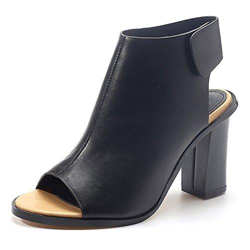 Damenschuhe Pumps Peep Toe High-Heel Blockabsatz Slingback Schwarz