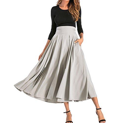 Bfustyle Frauen Herbst Retro hoch taillierte Falten Gürtel Maxirock mit zwei - Schlitz Pencil Skirt Mit