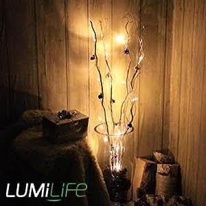 Lumilife Branches lumineuses décoratives à piles - 4 branches argentées - Boules de Noël - 100 cm / 16 LED