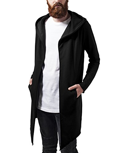 Urban Classics Long Hooded Open Edge, Cardigan Uomo, Nero (Black 7), X-Large