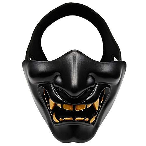 Umiwe Schutzmaske Halloween, Airsoft Paintball Halbe Gesichtsmaske Unteres Gesicht Schützend Taktische Maske Böser Dämon Monster Ritter Kabuki-Masken für Cosplay, Kostüm-Party und Filmstütze