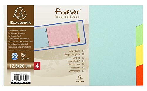 Intercalaires pour fiches bristol carte 180g forever 4 positions - 125x200mm