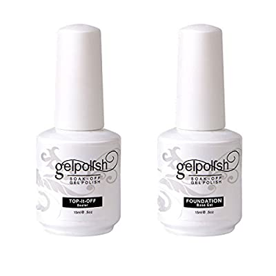 Kanorine Gel Nail Polish Base No Wipe Top Coat 15ml 2 PCS Soak OFF Varnish Manicure UV LED Lamp Curing