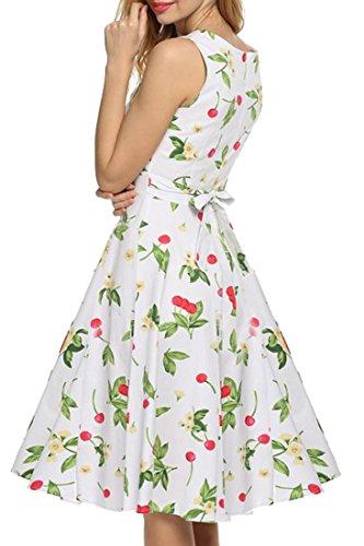 REPHYLLIS Femme Vintage 1950's Audrey Hepburn robe de soirée cocktail années 50 Rockabilly Swing Blanc