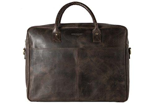 HOLZRICHTER Berlin - Briefcase (M) Premium Aktentasche aus Leder - Handgefertigte Große Laptoptasche - Ledertasche für Herren und Damen - dunkel-braun -