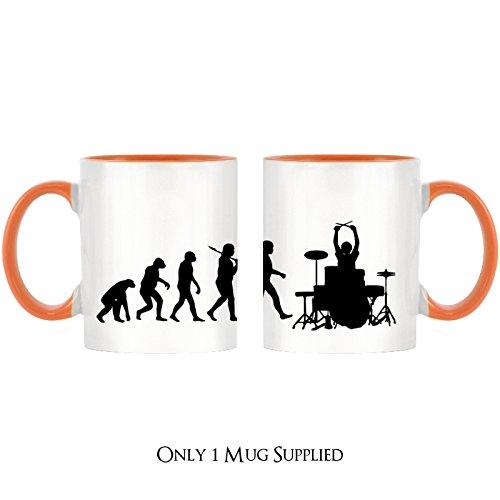 Evolution of a Drummer Design bicolor Becher mit Henkel Orange & Innen