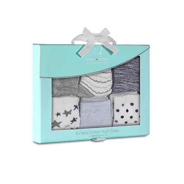 Aden & Anais - Calcetines de algodón peinado para bebé, diseño de estrellas, 6 unidades 2