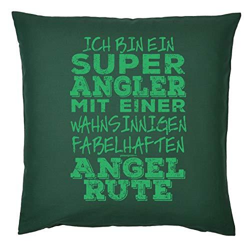 Tini - Shirts Angler/Anglerin Deko-Kissenbezug - Sprüche Geschenk-Kissen Angel-Sport : super Angler fabelhaften Angel Rute - Deko Angler - Kissen ohne Füllung - Farbe: dunkelgrün
