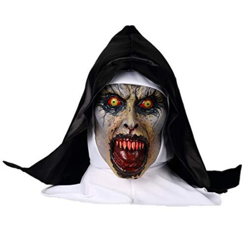 K-Y YK The Conjuring 2 Horror Nun mask Grimace Halloween Scary Latex Hood Movie Props Masquerade mask (Der Red Hood Kostüm)