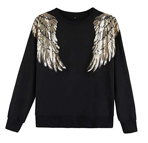 Hibasing Warmes Damen Pailletten Sweatshirt Glitter Wings Pailletten Pullover Top Classic Sweater