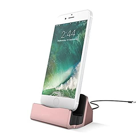 iPhone USB Chargeur Dock RAXFLY Socle de Charge Station D'accueil Base de Chargement pour Apple iPhone 7 plus iPhone 6 6s plus iPhone 5/5s/SE iPad etc. - Rose