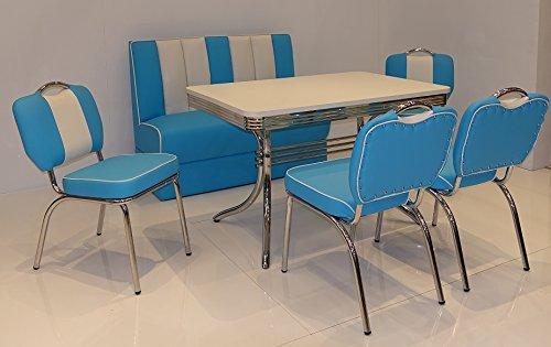 moebelstore24 Sitzgruppe American Diner Vegas/Paul/King 6-50er Jahre 6 Teilig Blau-weiß Tisch, Bank und Stühle