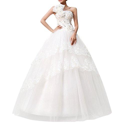2015 nouveau Robe mariée Robe de mariage femme blanc élégante dentelle à dos nu avec des fleurs (Large / FR 36)