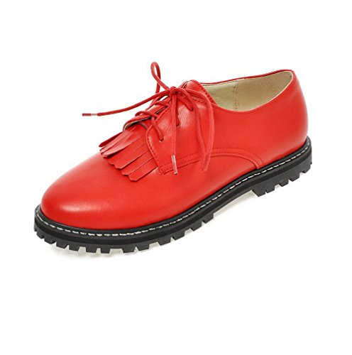 AllhqFashion Femme Rond Lacet Pu Cuir Couleur Unie à Talon Bas Chaussures Légeres Rouge