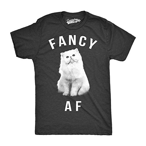Crazy Dog TShirts - Mens Fancy AF Funny T shirts Novelty Tees Hilarious Cat Face Animal T shirts - herren - Schwarz