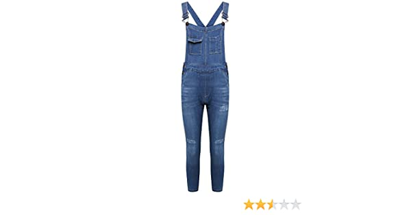 New Kids Girls DENIM Stretch Dark Wash Dungarees Playsuit Jumpsuit Long Dress UK