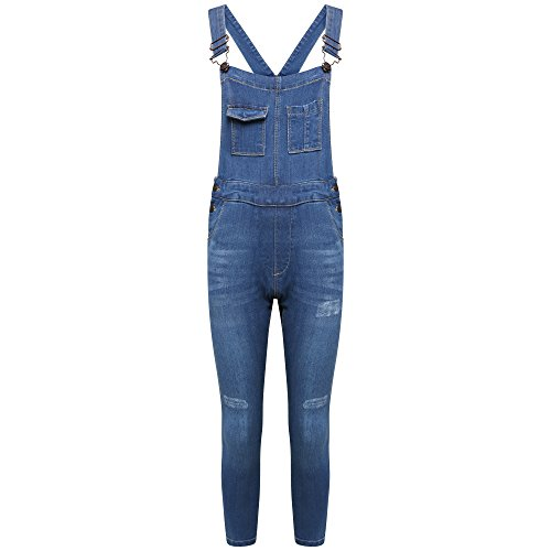MISS CUTE Girls Denim Dungarees Stretch Fade Blue Wash Slim Fit Skinny Jeans Jumpsuit All In One (11-12 Years)