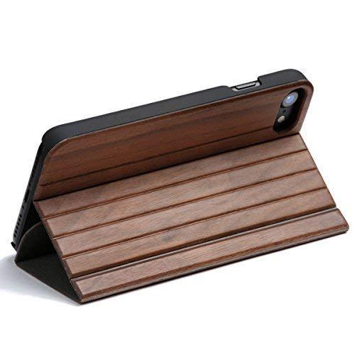WOLA für iPhone 6 Plus / 6s Plus Holzhülle Forrest Handyhülle und Holz Klapp- Fliphülle mit Magnet Nussholz