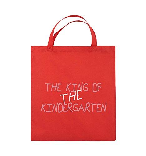 Comedy Bags - The king of the Kindergarten - Jutebeutel - kurze Henkel - 38x42cm - Farbe: Schwarz / Hellbraun-Beige Rot / Rosa-Weiss