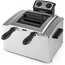 Klarstein QuickPro XXL 3000 Freidora • Tanque 5 L • Potencia 3000 W • Temperatura regulable • Hasta 190 °C • Temporizador • Visor en tapa • 3 x mangos • 3 x ...
