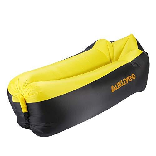 Aukuyee gonfiabile divano, aria divano gonfiabile portatile air lounger gonfiabile spiaggia, materassino gonfiabile, aria divano per viaggiare, piscina, campeggio, parco, spiaggia (giallo e nero)