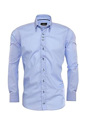 Giorgio Capone Herrenhemd, 100% Baumwolle, hell-blau, dunkel-blau abgenäht, Button-Down Doppelkragen, Langarm, Slim & Regular Fit (XL Reg mit (Easy Care Leinenhemd)