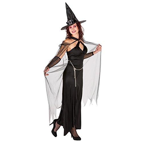 TecTake dressforfun Damen Hexen Kostüm mit langem Abendkleid, extra Cape, Armstulpen und trendigem Kettengürtel (S | Nr. 300032) (Cape Hexe Kostüm Mit)