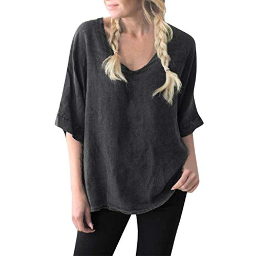 Bfmyxgs Fashion Women Vintage V-Neck Cotton Linen Casual Loose T-Shirt Blouse In Daily