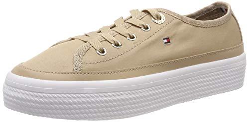 Tommy Hilfiger Damen Corporate Flatform Sneaker, Beige (Desert Sand 932), 37 EU Beige Damen-slip