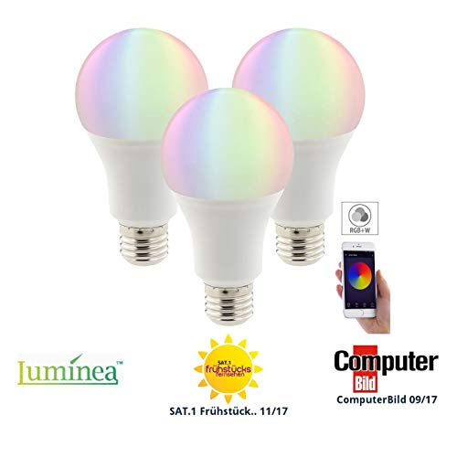 Luminea Home Control WLAN Leuchtmittel: 3er-Set WLAN-LED-Lampen, Amazon Alexa & Google Assistant komp, E27 (Smart Lampe)