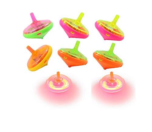 6 x Kreisel mit LED Lichteffekt Leuchtend Spinning Geschenk für Kindergeburtstag Party - Partyzubehör Give Away Mitgebsel für Kinder- LB01