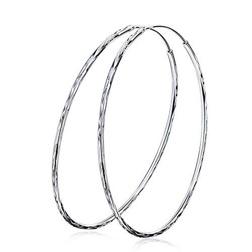 YFN Argento Sterling 925 Orecchini a cerchio semplici , Diametro 60mm