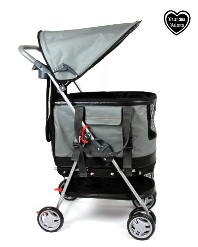 Valentina Valentti Haustierbuggy / Hundebuggy, All-in-One (Hundeautositz / Buggy / Haustiertransporttasche), Grau -