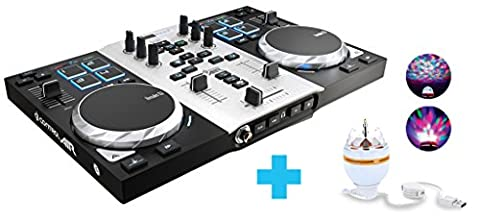 Hercules DJ Control Air S Series Party Pack (2-Deck DJ Controller, Air Control, 8 Pads, integr. Soundkarte, LED Party Light USB, DJUCED 18°, PC / Mac)