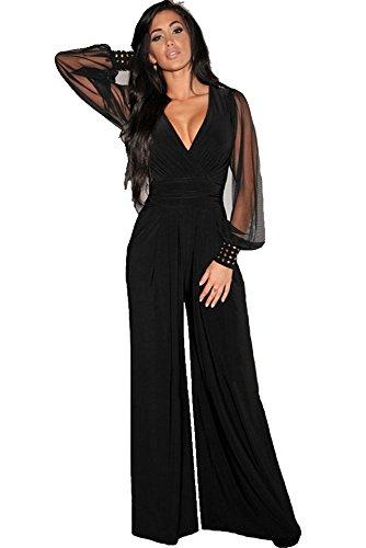 tuta elegante pantaloni lunghi a zampa jumpsuit vestito abito cerimonia da donna, scollo a V profondo-XXL